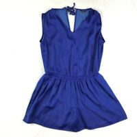 LOFT Romper Size XS Royal Blue Shorts Cap Sleeve Elastic Waist Pockets Back Tie