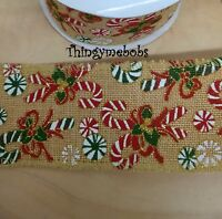 1m X 63mm CANDY CANE HESSIAN CHRISTMAS RIBBON - CAKES/GIFT WRAPPING