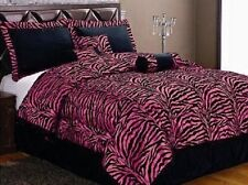 Twin 5 Piece Bedding Soft Short Fur Comforter Set Hot Pink Zebra Bed-in-a-bag