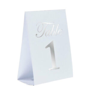 Silver and White Table Number Cards Wedding Reception 20 Count