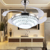 "42"" Invisible Crystal Ceiling Fan Lamp Remote Control 3 Color Dimmable LED Lamp"