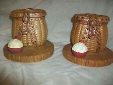 Pair Metal Fishing Basket Bobber Midwest of Cannon Falls Taper Candle Holder
