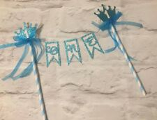 First birthday boy blue bunting cake topper prince age glitter 1st one crown 1