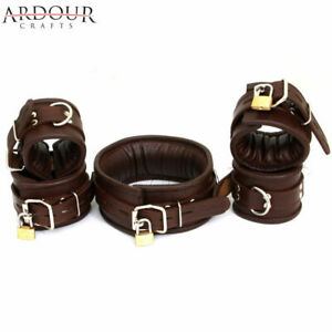 Genuine Leather Padded Wrist, Ankle Cuffs & Neck Collar Set of 5 Pieces Lockable