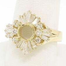 14k Yellow Gold Large Engagement Ring Semi Mount Setting w/ 1.13ctw Diamonds