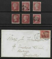 SG40. 1d.Rose-Red 'Stars'-7 FU Examples,One on Envelope.Total Cat.£95+. Ref:0.91
