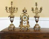 ANTIQUE FRENCH BAROQUE LOUI XVI STYLE CLOCK CANDELABRA HEAVY BRASS