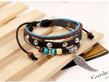 Latest Fashion, cool multilayer leather wrist band unisex Angel Wing Charm