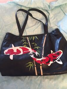 Koi leather large purse Sanke Showa Kohaku pond fish bag tote satchel