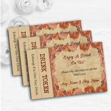 Shabby Chic Vintage Postcard Rustic Coral Rose Wedding Bar Free Drink Tokens