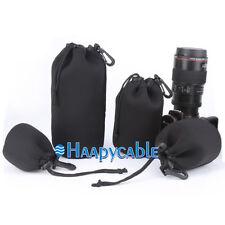 New 4pcs Neoprene DSLR Lens Protector S+M+L+XL Size Soft Pouch Case Bag Set