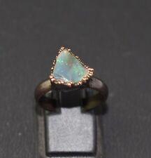 1 Pc Raw Opal Gemstone Copper Jewelry October Birthstone Beautiful Ring