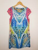 PORTMANS Shift Dress Multicoloured Mirror Print Women's Size 10 Lined Cap Sleeve