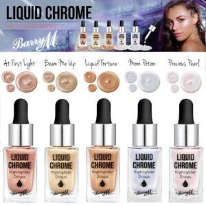 Barry M Liquid Chrome Highlighter Drops Intense Face Skin Glow 5 Stunning Shades