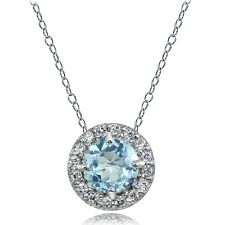 Sterling Silver Blue and White Topaz Round Halo Necklace