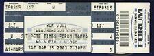 Bon Jovi Concert Ticket Stub St Pete Times Forum Tampa Florida March 15 2003
