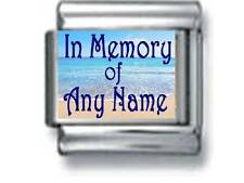 IN MEMORY 'ANY NAME' BEACH CUSTOM PERSONALIZE 9MM ITALIAN CHARM friend dad son