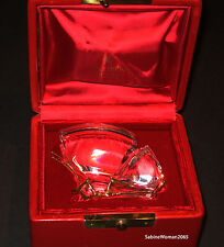 NEW in RED BOX STEUBEN Glass 18K GOLD BUTTERFLY Monarch heart papilio Ornament