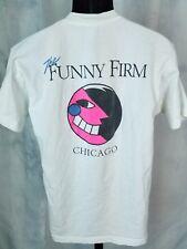 Vintage The Funny Farm Chicago Comedy Club Rare T Shirt 90s Distressed White