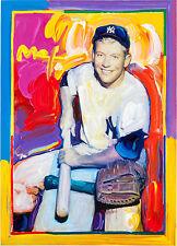 Peter Max Baseball Mickey Mantle Yankees Original Hand Signed Mixed Media Sports
