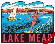 VINTAGE LAKE MEAD ARIZONA NEVADA WATER SKI OLD AD POSTER ART REAL CANVAS PRINT