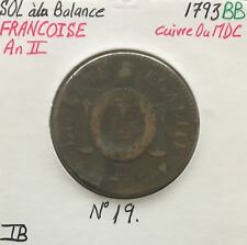 SOL à la Balance - FRANCOISE AN II - 1793 BB - Monnaie en Cuivre ou Mdc // TB