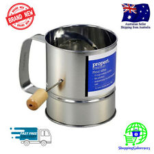 NEW 5 Cups Flour Sifter Hand Crank Rotary Action Adjustable for Left-Handed