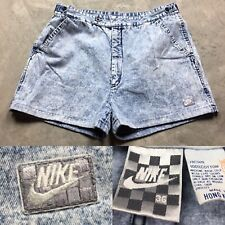 53a3b088eed4f2 80s VTG NIKE JOHN MCENROE TENNIS Acid Wash Checkerboard DENIM Agassi Shorts  36