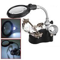 3.5X 12X Soporte Para Soldador Lupa Pinzas Con LED Luz Soldadura Regulable Metal