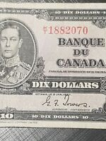 ➡➡UNGRADED 1937 BC-24c Nice Bank of Canada 1937 $10 K/T 1882070 Circ.