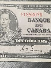 ➡➡UNGRADED 1937 BC-24c Nice Bank of Canada 1937 $10 K/T 1882070 Circ.