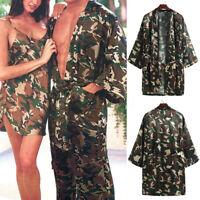 Men's Silk Stain Kimono Dressing Gown Camouflage Bath Robe Pants Nightdress NEW