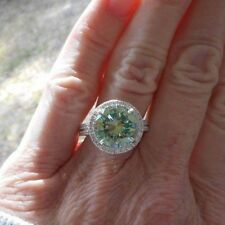 Halo Green Moissanite Ring 5.00 Ct Engagement Anniversary 925 Sterling Silver 67
