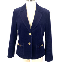 Talbots Corduroy Blazer Equestrian Jacket Navy Blue Lined Stretch Women's Size 8