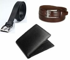 Combo Set Of 2 Belts (black & brown) And Italian Leatherite Wallet