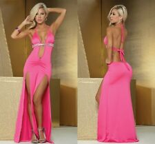 Women Sexy Lingerie Long Dress Pink Sleepwear Nightgown Nightwear Gown Robe USA