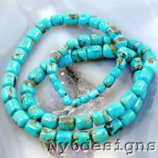 "3x3mm-6x6mm Natural Blue Hubei Turquoise Graduated Tube Beads 15""(TU791)a"
