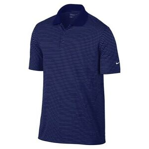 Nike Golf Men's Dri-Fit Tour Performance MiniStripe Polo Shirt Navy/White Small