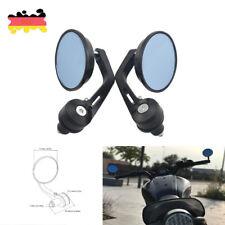 2x Motorrad Spiegel Lenkerendenspiegel Alu CNC schwarz rund universal