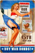 Buy War Bonds Pin Up Girl Vintage Metal Sign Man Cave Garage Body Shop BVL032