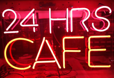 """24 Hrs Cafe Acrylic 17""""x14"""" Neon Sign Lamp Light Bar With Dimmer"""