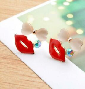 Heart Opal Red Lips Crystal Stone Stud Earrings Womens Girls Jewellery Gift New