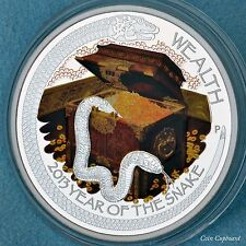 """2013- YEAR OF THE SNAKE, Set of 2 Proofs- """"WEALTH & WISDOM"""", LUNAR GOOD FORTUNE"""