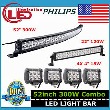 "52"" 300W Curved LED Light Bar Philips+ 22"" 120W+ 4"" 18W Pods 4WD Driving Ford 50"