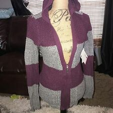 Roxy Size M Womens Rocky Stone Hoodie Zip Front Jacket Sweater NEW Gray Cardigan