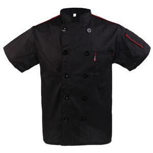 Men Women Five Star Short Sleeve Chef Jacket Chefs Coat Catering Uniform Black