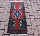 Anatolian Vintage Red Doormat Carpet Oushak Nomadic Oriental Wool Rug 2x4 ft