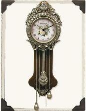 "Chic Shabby Cottage Victorian PRIMROSE FLOWER PENDULUM WALL CLOCK 24""X9"""