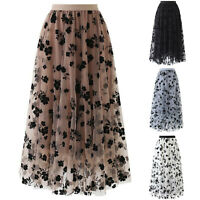 Women Spring Long Chiffon Skirt High Waist Mesh Floral Skirt Ladies Long Skirt