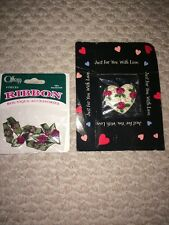 New 9pc Rose Set Heart Shaped Pin+8 Offray Ribbon Boutique Accessories
